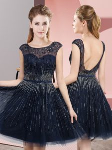 Navy Blue Empire Tulle Scoop Sleeveless Beading Tea Length Backless Prom Dresses