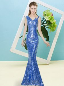 Decent Blue Asymmetric Zipper Sequins Prom Party Dress Sleeveless