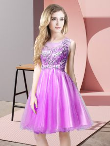 Pretty Tulle Scoop Sleeveless Zipper Beading Prom Gown in Lilac
