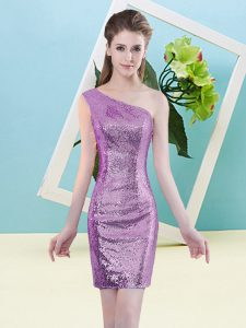 Lilac Zipper One Shoulder Sequins Prom Gown Sequined Sleeveless