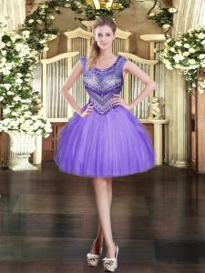 Suitable Lavender Sleeveless Tulle Zipper Prom Party Dress for Prom and Party
