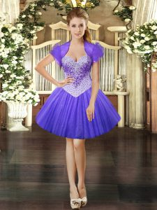Flare Tulle Sleeveless Mini Length and Beading