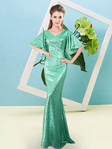Fashionable Sequined Half Sleeves Floor Length Celebrity Style Dress and Sequins