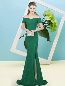 Dark Green Prom Evening Gown Sequined Sweep Train Short Sleeves Sequins