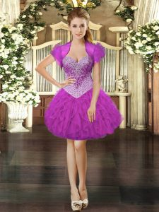 High Class Mini Length Ball Gowns Sleeveless Fuchsia Prom Dress Lace Up