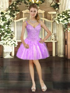 Lilac V-neck Lace Up Beading and Ruffles Prom Evening Gown Sleeveless