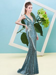 Teal Sleeveless Sequins Floor Length