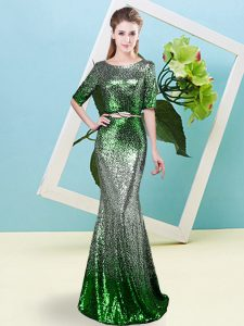 Superior Multi-color Scoop Neckline Sequins and Belt Prom Dress Half Sleeves Zipper