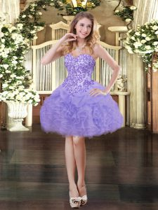 Exquisite Sleeveless Organza Mini Length Lace Up Prom Evening Gown in Lavender with Appliques and Ruffles and Pick Ups