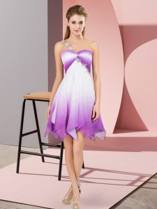 Multi-color Prom and Party with Beading One Shoulder Sleeveless Lace Up