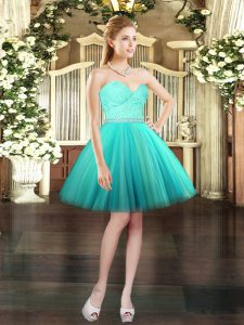 Dramatic Ball Gowns Prom Evening Gown Aqua Blue Sweetheart Tulle Sleeveless Mini Length Lace Up