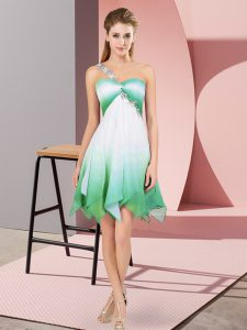 Decent One Shoulder Sleeveless Lace Up Prom Gown Multi-color Fading Color