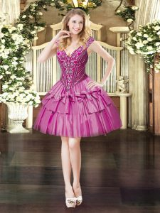 V-neck Sleeveless Organza Prom Gown Beading Lace Up
