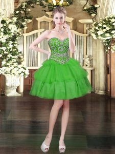 New Arrival Sleeveless Mini Length Beading and Ruffled Layers Lace Up Prom Dress with Green