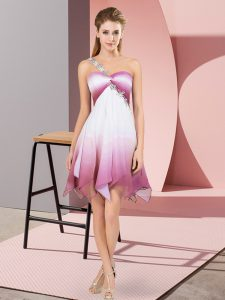Customized Multi-color Fading Color Lace Up Prom Party Dress Sleeveless Asymmetrical Beading
