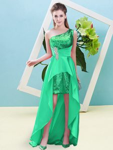 High Low Lace Up Turquoise for Prom and Party with Beading and Sequins