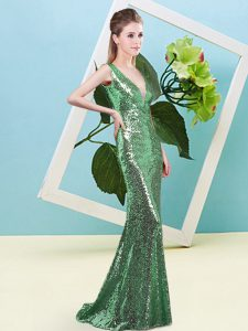 Excellent Green V-neck Zipper Sequins Sleeveless