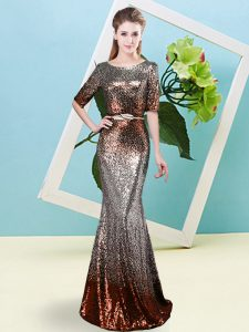 Enchanting Multi-color Sequined Zipper Scoop Half Sleeves Floor Length Prom Evening Gown Sequins and Belt