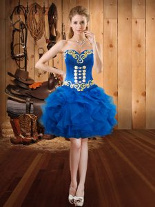 Organza Sweetheart Sleeveless Lace Up Embroidery and Ruffles Homecoming Dress in Royal Blue