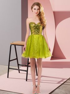 Deluxe Sweetheart Sleeveless Tulle Homecoming Dress Sequins Zipper