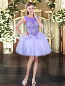 Flare Mini Length Lace Up Lavender for Prom and Party with Beading