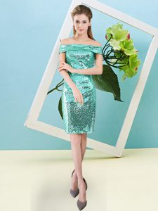 Extravagant Turquoise Off The Shoulder Neckline Sequins Prom Gown Short Sleeves Zipper