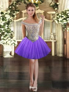 Dramatic Ball Gowns Prom Evening Gown Lavender Off The Shoulder Tulle Sleeveless Mini Length Lace Up