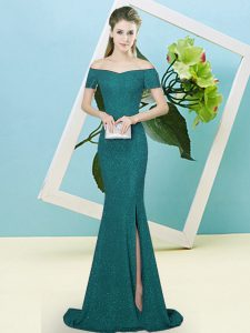 Low Price Turquoise Mermaid Sequined Off The Shoulder Short Sleeves Sequins Zipper Prom Gown Sweep Train