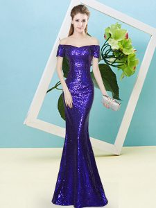 Purple Prom Gown Prom and Party with Sequins Off The Shoulder Short Sleeves Zipper