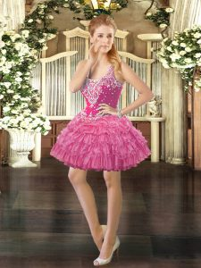 Rose Pink Straps Lace Up Beading and Ruffled Layers and Pick Ups Prom Dress Sleeveless