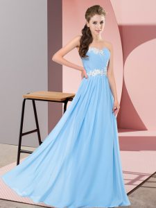 Pretty Sleeveless Chiffon Floor Length Lace Up Prom Dress in Aqua Blue with Appliques