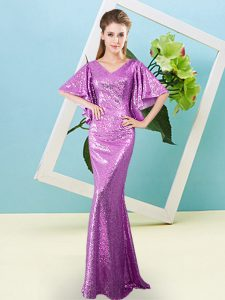 Lilac Dress for Prom Prom and Party with Sequins V-neck Half Sleeves Zipper