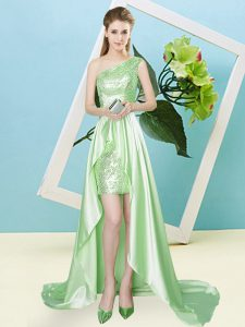 Elastic Woven Satin and Sequined Sleeveless High Low and Sequins