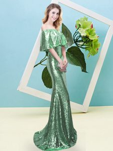 Hot Sale Turquoise Short Sleeves Floor Length Sequins Zipper Prom Party Dress