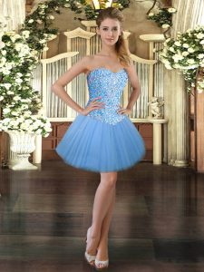 Baby Blue Sleeveless Tulle Lace Up Prom Evening Gown for Prom and Party