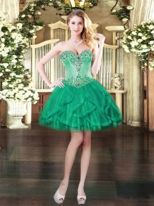 New Style Turquoise Ball Gowns Tulle Sweetheart Sleeveless Beading and Ruffles Mini Length Lace Up Dress for Prom