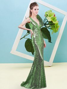 Mermaid Prom Gown Green V-neck Sequined Sleeveless Floor Length Zipper