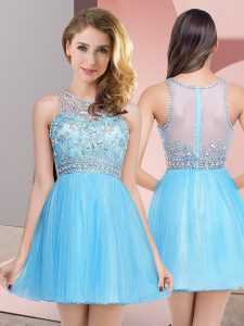 Mini Length Baby Blue Dress for Prom Scoop Sleeveless Zipper