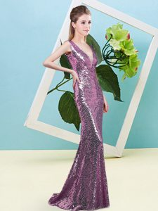 Cheap Lilac Sequined Zipper Prom Gown Sleeveless Floor Length Sequins