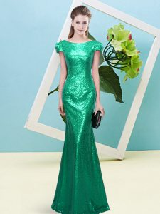 Lovely Turquoise Scoop Neckline Sequins Prom Gown Cap Sleeves Zipper