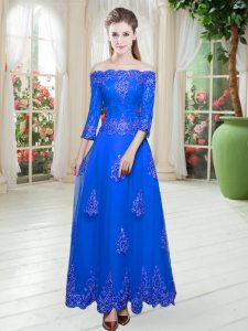 Cheap Royal Blue A-line Off The Shoulder 3 4 Length Sleeve Tulle Floor Length Lace Up Lace Evening Dress