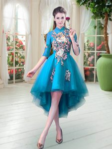 On Sale Teal Zipper Prom Gown Appliques Half Sleeves High Low