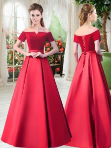Decent Red Lace Up Prom Party Dress Belt Short Sleeves Floor Length
