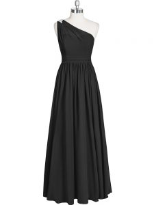 Suitable Floor Length Black Prom Party Dress Chiffon Sleeveless Ruching