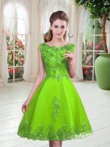 High Quality Knee Length Lace Up Prom Party Dress for Prom and Party with Beading and Appliques