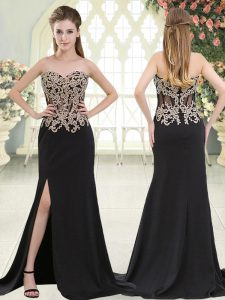 Eye-catching Black Prom Gown Elastic Woven Satin Sweep Train Sleeveless Beading and Appliques