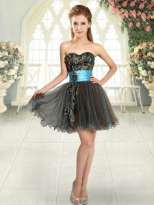 Mini Length Brown Homecoming Dress Sweetheart Sleeveless Lace Up