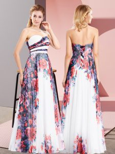 High End Floor Length Empire Sleeveless White Prom Gown Lace Up