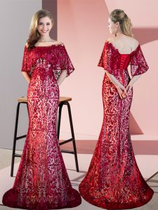 Off The Shoulder Half Sleeves Homecoming Dress Sweep Train Lace Red Sequined