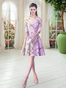 Superior Lilac A-line Scoop Half Sleeves Knee Length Lace Up Ruching Prom Gown